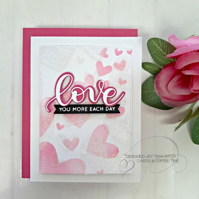 SSS Hey Bestie Release-Bursting Hearts 9x12 Stencil-Tina Smith