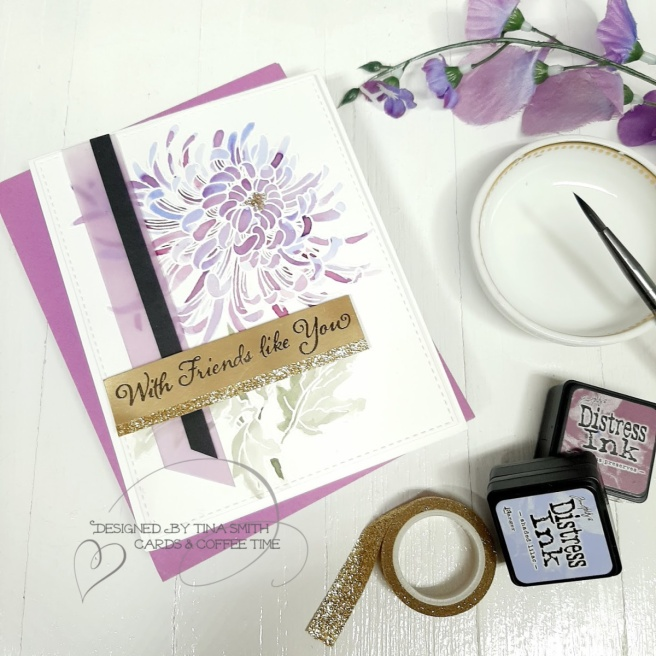 Watercolor card tutorial by Tina Smith with the Stampendous! Cling Garden Mum Stamp set.