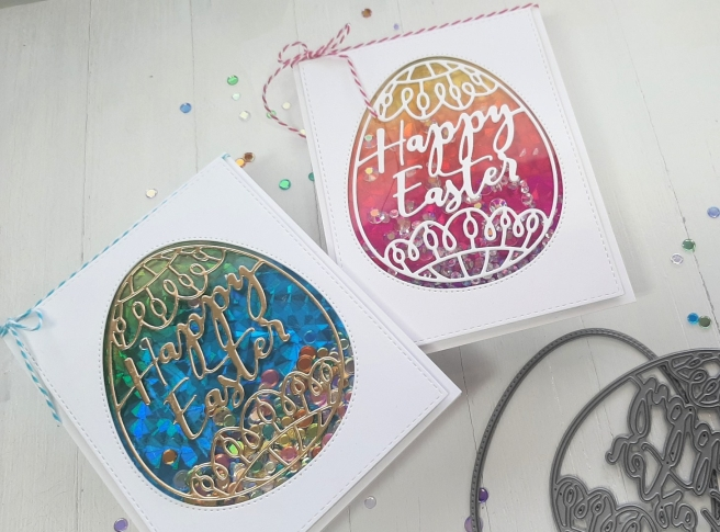 Shaker card tutorial by Tina Smith with the Simon Says Stamp Faberge Egg Die Set #SimonSaysStamp #LuckyToKnowYou #CardsandCoffeeTime #Cardmaking
