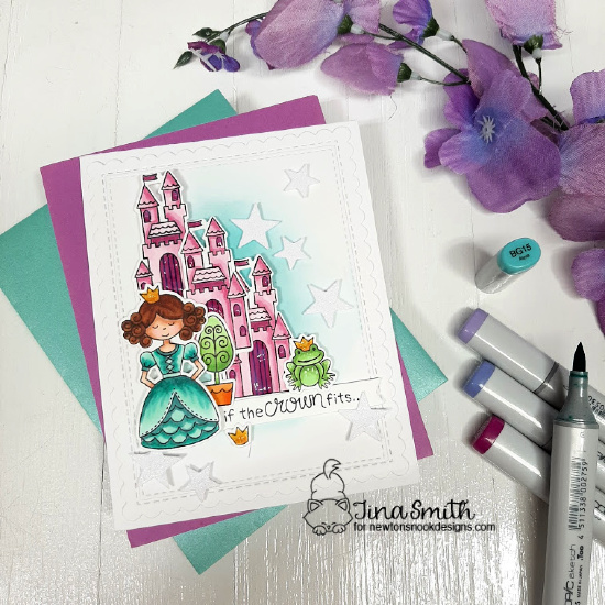 Princess card tutorial by Tina Smith with the Once Upon a Princess stamp set by Newton's Nook Designs #NewtonsNookDesigns #NewtonsNook #Cardmaking #CardsandCoffeeTime