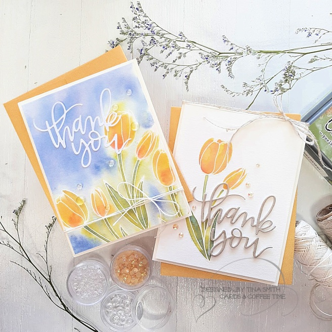 Distress Oxide watercolor card by Tina Smith with the Pretty Pink Posh Tulips stamp set #PrettyPinkPosh #TulipCards #Cardmaking #CardsandCoffeeTime