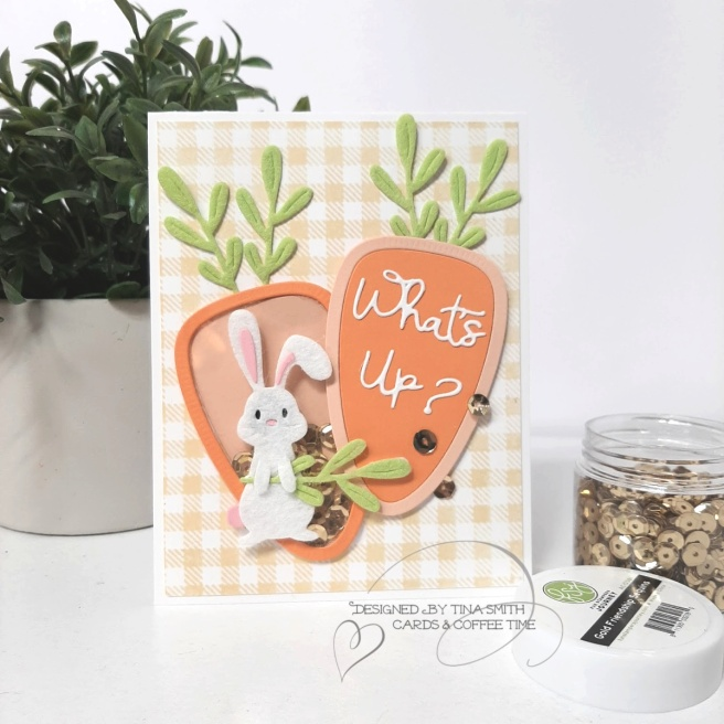 Easter shaker card tutorial by Tina Smith with the Spellbinders Small Die of the Month Club Kit for March 2020 #Spellbinders #SpellbindersClubKits #Cardmaking #Papercrafts #EasterCards #CardsandCoffeeTime
