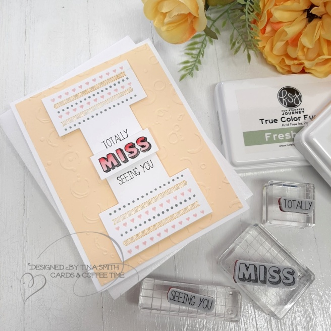 Miss you card tutorial by Tina Smith with the Spellbinders Fun Stampers Journey Stamp of the Month club kit for March 2020 #Spellbinders #SpellbindersClubKits #FSJourney #Cardmaking