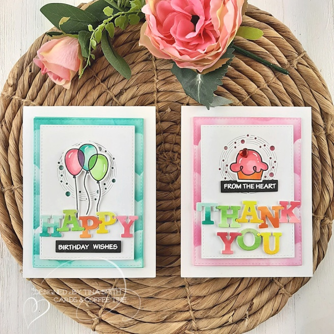 Birthday and Thank you card tutorial by Tina Smith with Memory Box Dies and Paper Smooches Birthday Bash Stamp #Cardmaking #HandmadeCards #CardsandCoffeeTime
