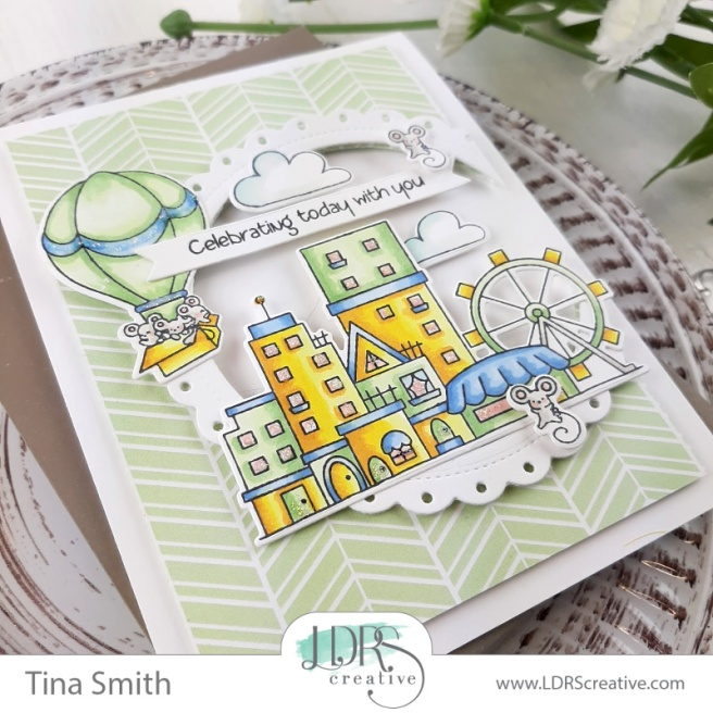 Card tutorial by Tina Smith with the LDRS Creative Boardwalk Mice Stamp set #LDRSCReative #Cardmaking #HandmadeCards #CardsandCoffeetime