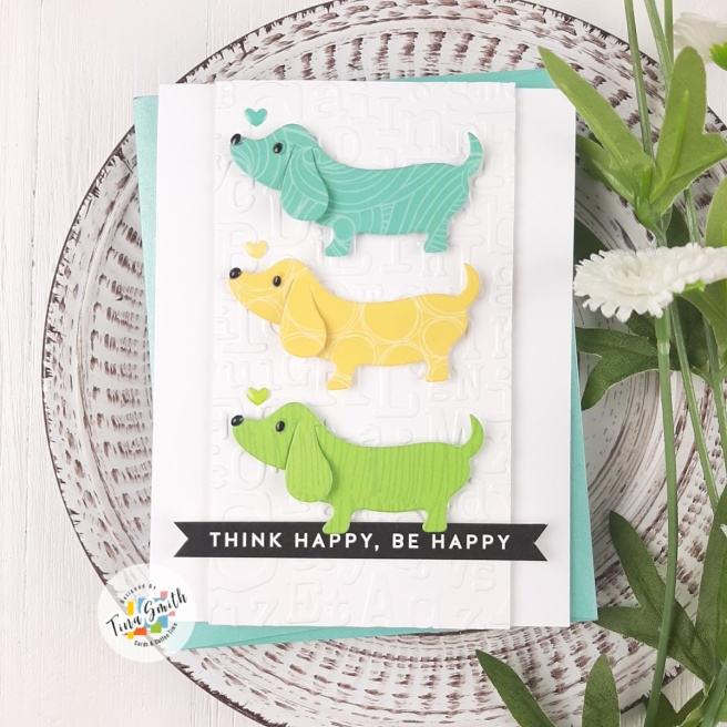 Card tutorial by Tina Smith with the Simon Says Stamp Lil' Critters Dachshund Die. #SimonSaysStamp #SSSSendHappiness #SimonSaysStamp #Cardmaking #CardsandCoffeeTime #HandmadeCards